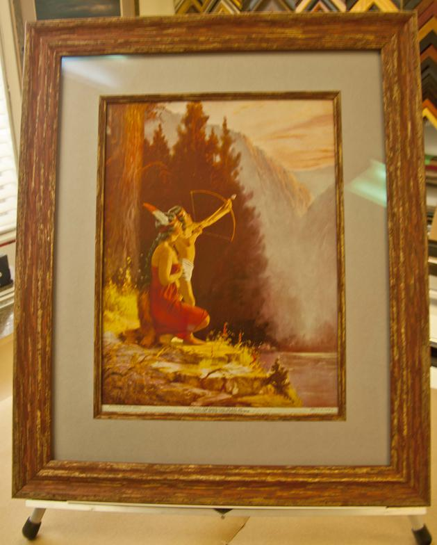 An example of the use of a fillet, which matches the frame, for a more dramatic presentation of an old treasured print.