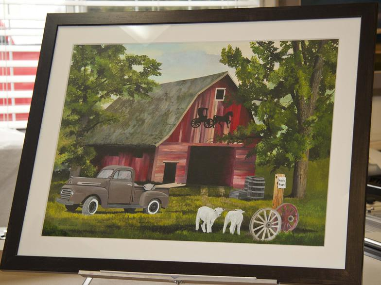 Chris Schmidt's bold painting of a red barn using an 8ply mat which gives depth.